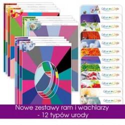 Zestaw 12 ram i wachlarzy kolorow